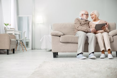 Elderly couple at home image